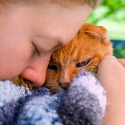 girl snuggling kitten