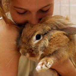 girl cuddling large rabbit