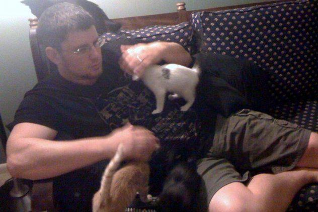 Brandon and foster kittens