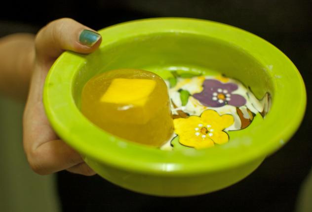 pupsicle inside pet dish