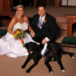 Emily and her husband with their dogs on their wedding day.