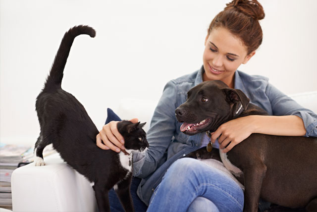 Woman with a dog and cat on her lap.