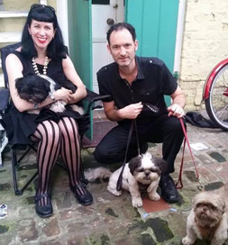 Giacomo would prefer to remain in Anne's lap, but Cody and Coco are ready for a walk.