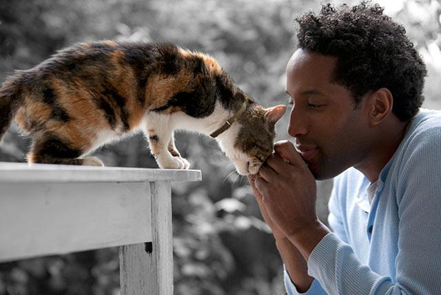 Man kissing cat.