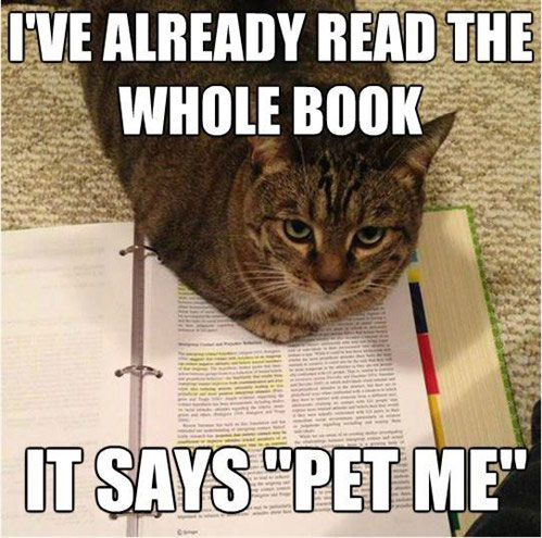 "I've already read the whole book it says ""pet me"""