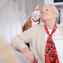woman sitting on a couch with a cat next to her rubbing her cheek